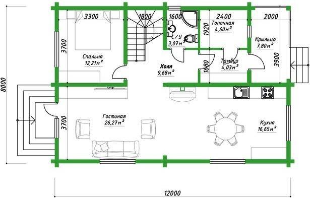 """Дом из клееного бруса 176 м2 """"Хантинг хаус"""""""