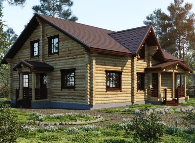 "Дом из оцилиндрованного бревна 290 м2 ""Прокофьев"""