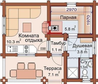 """Баня бревенчатая """"Каир"""" 6х6 36м2"""