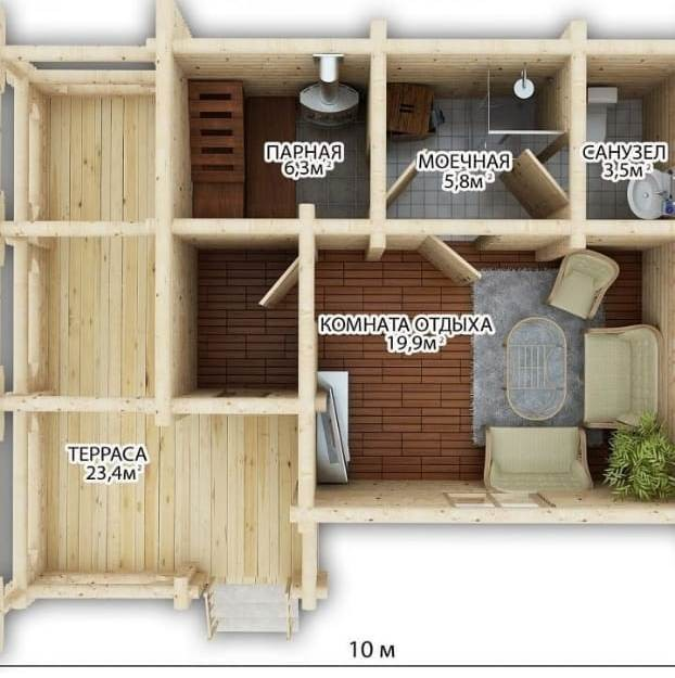 """Баня бревенчатая """"Афина"""" 8х5 40м2"""